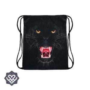zwarte tijger gym bag rugtasje