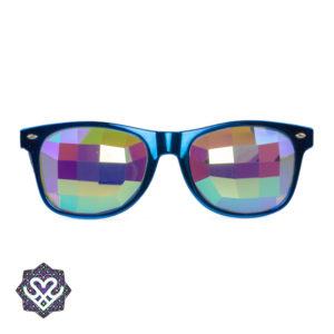 blauwe kaleidoscoop festival bril